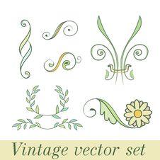 Free Vintage Set Flowers Stock Images - 27883824