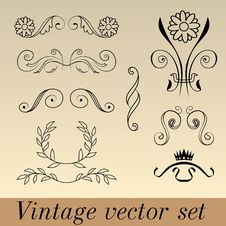 Free Vintage Vector Set Stock Image - 27883831