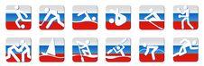 Sports Icons White On Flag Stock Photos