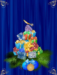 Christmas Tree From Gifts Royalty Free Stock Photography