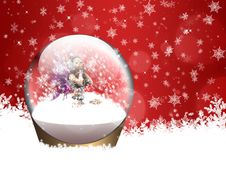 Christmas Snow Globe With Fairy Stock Photography