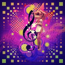 Musical Background With Dancing Girl Stock Image