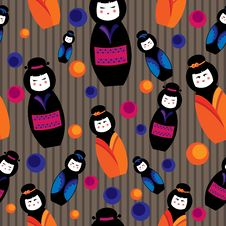 Free Background With Kokeshi Dolls Stock Photos - 27889583
