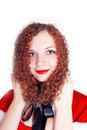 Free Portrait Of Pretty Curly Girl Dressed As Santa Stock Images - 27890744