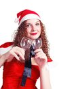 Free Pretty Curly Girl As Santa With Glasses Royalty Free Stock Image - 27891056