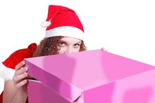 Pretty Curly Girl Looks Like Santa Gift Royalty Free Stock Image