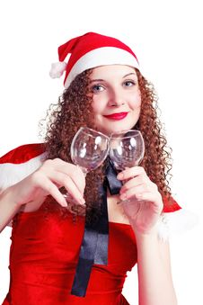 Pretty Curly Girl As Santa With Glasses Royalty Free Stock Image