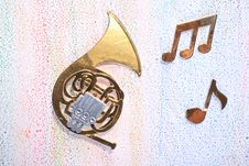 French Horn With Musical Notes Stock Images