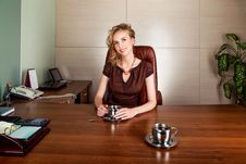 Free Businesswoman Boss Siting At Office Desk - Smile Royalty Free Stock Photo - 27895825