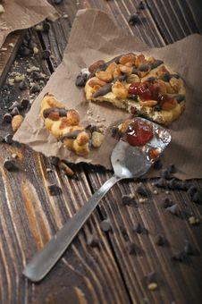 Closeup Of Broken Peanut Cookie Royalty Free Stock Photo