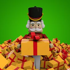 Free Christmas Card - Gifts And Nutcracker Stock Photos - 27899203
