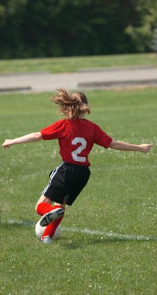 Soccer Player Kicking Ball 3 Stock Photography