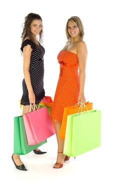 Girls On Shopping Stock Image