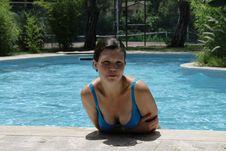 The Girl In Pool Stock Image