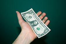 Paper Dollar On A Palm Royalty Free Stock Photo