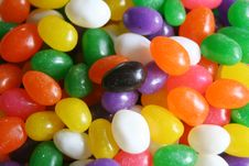 Black On Colored Jellybeans Stock Image