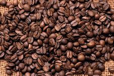 Coffee Beans On A Bag Royalty Free Stock Photo