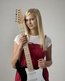 Teen Girl With Electric Guitar Stock Images