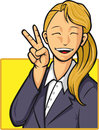 Free Cartoon Of Happy Office Worker Girl Royalty Free Stock Photo - 27907205