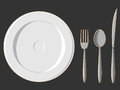 Free Dining Set - Plate, Fork, Spoon & Knife Stock Images - 27907374