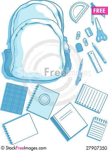 Free School Bag And School Supplies Stock Photo - 27907350