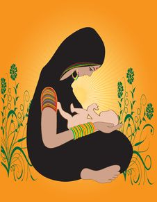 Free Illustration Of An Indian Hindu Mother With Kid Royalty Free Stock Photos - 27900658