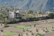 Tibetan Village Scene Royalty Free Stock Photography