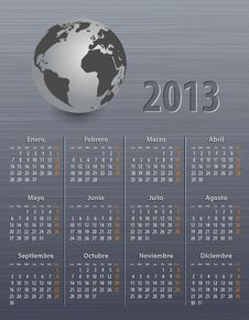 Free Calendar For 2013 In Spanish With Globe Stock Photos - 27902873