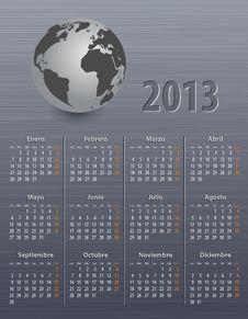 Calendar For 2013 In Spanish With Globe Stock Photos