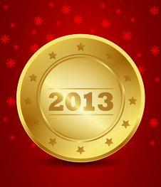 Free Happy New Year 2013 Golden Label Stock Photo - 27903460
