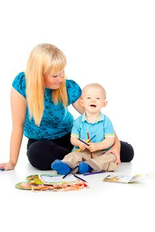 Free Mother And Child Play And Draw Stock Photography - 27903622
