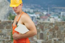 Free Builder Man In Protective Helmet Stock Image - 27905411