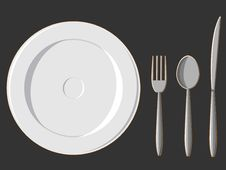 Dining Set - Plate, Fork, Spoon & Knife