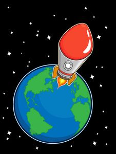 Free Rocket Fly From Earth Stock Images - 27907764