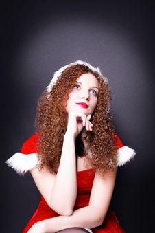 Free Pretty Snow Maiden Dreams Of Curly  For Christmas Royalty Free Stock Photo - 27909065