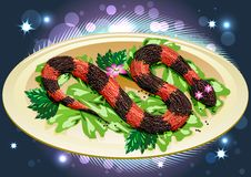 Free Caviar Snake With Lilly Royalty Free Stock Images - 27909149