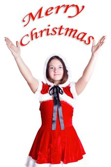 Pretty Girl Wishes A Merry Christmas Isolated Royalty Free Stock Photo