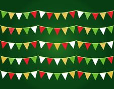 Free Colorful Christmas Flags Or Bunting Set Royalty Free Stock Photos - 27909648
