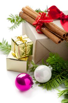 Christmas Composition With Baubles Royalty Free Stock Photography