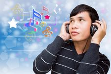Free Man Listening To Music Stock Photography - 27923242