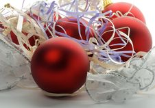 Free Christmas Baubles And Ribbons Royalty Free Stock Photos - 27923388