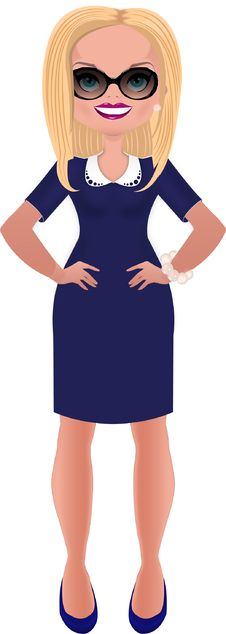 Free Business Woman In Blue Dress Stock Photos - 27925713