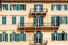 Free Terraces And Windows Of An Old Building In Verona Stock Photo - 27927110