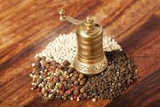 Various Types Of Pepper With Hand Mill Stock Image