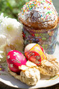 Free Easter Cake With Colorful Eggs And Flowers Royalty Free Stock Image - 27934666