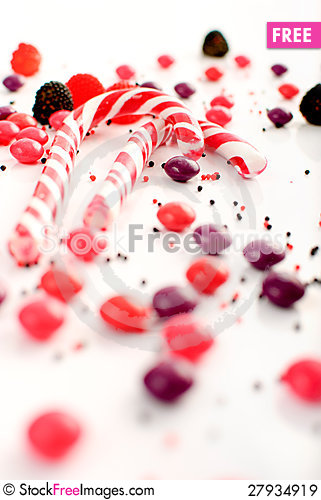 Free Multiple Candies Collection On White Royalty Free Stock Images - 27934919