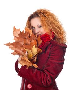 Free Girl With Yellow Autumn Leaves Royalty Free Stock Photo - 27932905