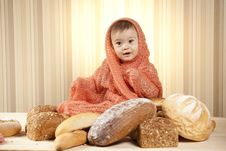 Free Happy Child Eating Bread Stock Photos - 27933403