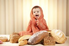 Free Cute Child Eating Bread Stock Photos - 27933453