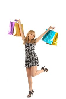 Free Beautiful Woman With A Lot Of Shopping Bags. Isolated On White Royalty Free Stock Photos - 27934008
